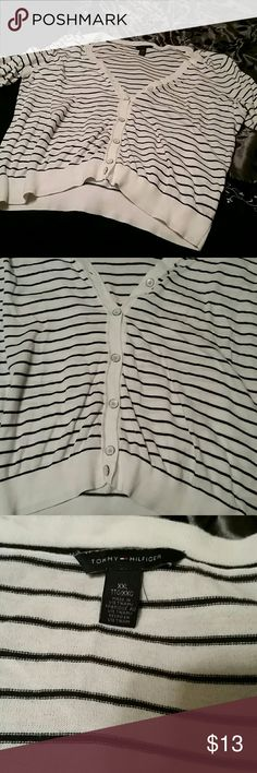 Tommy hilfiger cardigan XXL 3/4 sleeve striped Black and white stripe with white buttons Some pilling found on the sides mostly under arms. Tommy Hilfiger Sweaters Cardigans