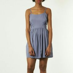 82be38c7353 Topshop Blue Mini Dress with Lace Cutouts Cute dress