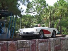 "Old Corvettes used as track cars on ""Route 63"" ride at Miracle Strip Amusement Park. Panama City Beach, Fl."