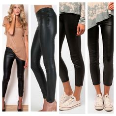 @Emily Schoenfeld Frizzell | shiny black leggings | PINK pumps | and an asymmetric top | cute