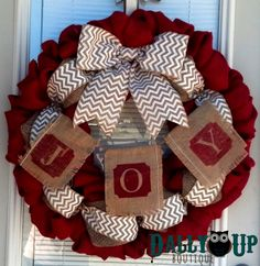 Burlap Wreath - Christmas burlap Wreath - Red, Natural with  White Chevron  Ribbon, Winter Burlap Wreath, Welcome Wreath, Joy Banner Wreath by DallyUpBoutique on Etsy https://www.etsy.com/listing/198196003/burlap-wreath-christmas-burlap-wreath