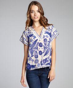 Rebecca Minkoff indigo blue avian print silk 'Sage' short sleeve to