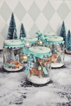DIY - winter wonderland in a glass - my homemade snow .- DIY – Winterwunderland im Glas – mein selbstgemachtes Schneeglas DIY decoration gift idea – winter wonderland in a glass – a homemade snow glass to give away and keep yourself - Christmas Jars, Winter Christmas, Vintage Christmas, Christmas Holidays, Christmas Decorations, Minimal Christmas, Natural Christmas, Beautiful Christmas, Simple Christmas