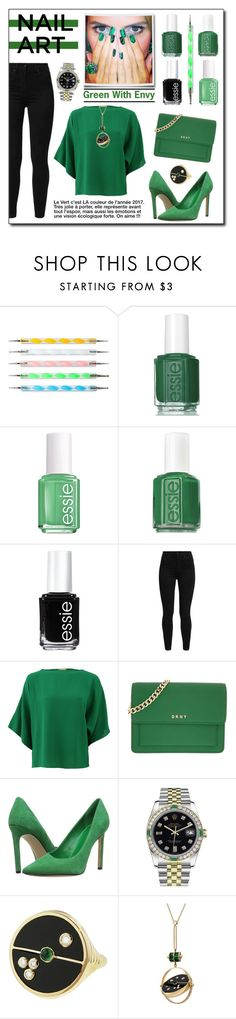 """Green With Envy : Wintery Nail Polish"" by drinouchou ❤ liked on Polyvore featuring Essie, Levi's, Michael Kors, DKNY, Nine West, Rolex and nailedit"