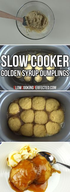 Slow Cooker Golden Syrup Dumplings - Slow Cooker - Ideas of Slow Cooker - Sweet slow cooker golden syrup dumplings that are the perfect easy dessert. They go great with some ice cream custard or even some heavy cream. Golden Syrup Dumplings, Sweet Dumplings, Crockpot Recipes, Cooking Recipes, Slow Cooker Desserts, Slow Cooker Fudge, Slow Cooker Bread, Fried Fish Recipes, Crock Pot Cooking