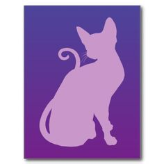 Lilac Cat on Purple Postcards