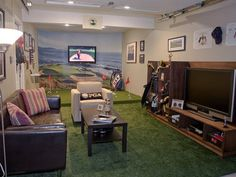Golf Garage Now this homeowner can take a golf vacation without leaving home. His garage was converted into a high-end golf practice area and lounge. The space includes a virtual-reality driving range with a curved wall, a media center and a sports storage area for all of his clubs and golf gear.