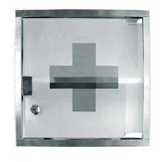 Gabinete en acero inoxidable para equipos de Primeros Auxilios. No incluye accesorios