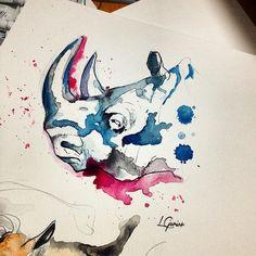 Rhino | Watercolor • #watercolor #art #arte #artoftheday #aquarela #aquarelle #rhino #rhyno #rinoceronte #animal #jungle #tattoo #tatuagem #watercolortattoo #draw #desenho #lcjunior