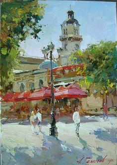 Varna. Le café à côté du théâtre. © Azat Galimov www.azatgalimov.com / indexangl.html Plein travail de l'air.  toile / huile 50cm x 35 cm 2009