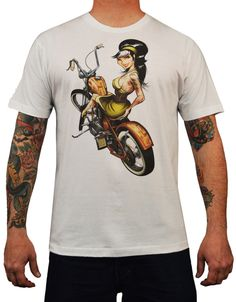 Men's Hard Tail by Artist Tyson McAdoo Pinup Motorcycle Tattoo T Shirt