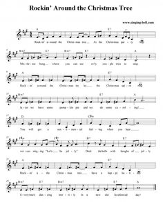Christmas Song: Rockin' Around the Christmas Tree. Free Christmas Music, Christmas Piano Music, Christmas Songs Lyrics, Christmas Carol, Christmas Tree, Xmas, Popular Piano Sheet Music, Violin Sheet Music, Song Sheet