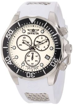 Men's Wrist Watches - Invicta Mens 11480 Pro Diver Chronograph White Dial White Polyurethane Watch *** Read more reviews of the product by visiting the link on the image.