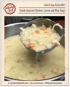 A recipe for Greek chicken lemon soup.