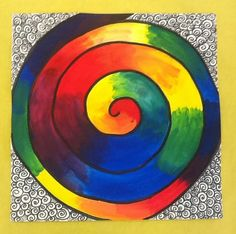 One Crayola Short: Color Wheel Spirals painting with grade COLOR THEORY - starting in centre apply 2 primary colours, blend together Color Wheel Lesson, Line Art Lesson, Color Wheel Projects, Color Wheel Art, Art Projects, Class Projects, Project Ideas, Kids Art Class, Art Lessons For Kids