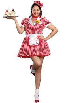 Costumes Women's Plus Size Diner Doll Costume - Retro Costumes - Plus Size Deluxe Costumes - Retro Costume, Doll Costume, Adult Costumes, Costumes For Women, Halloween Costumes, 1950s Costumes, Halloween Dress, Waitress Outfit, Apple Costume