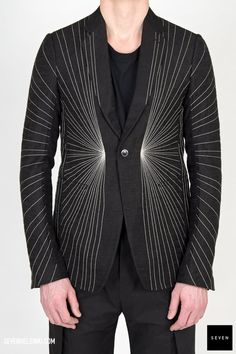 Woven embroidery jacket KEMR 941 BLACK New Wool Viscose Embroidery Acrylic Wool Back lining Viscose Cupro, sleeves lining Cupro, front lining Cotton Rick Owens - Walrus - Made in Italy Model is wearing size He is chest Rick Owens, Mens Fashion, Blazer, Embroidery, Model, Sleeves, Alternative, How To Wear, Cotton