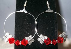 Lovely Hoop Earrings Butterflies and Red by WolfMountainJewelry, $13.00