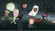 Storybots Halloween app for kids that makes them make ecards starring them