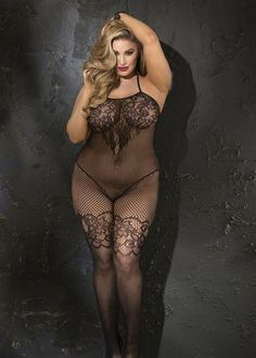 b0b4c84613c This stunning stretch lace bodystocking features gorgeous details that  include the fishnet stocking with lace work garters
