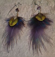 Purple dyed ringneck pheasant accented by india blue peacock feathers. $20.00
