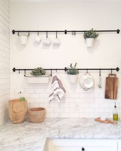 Hanging Rods, hooks and hanging pots are from Ikea – Fintorp.