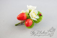 Brooch with berries and flowers strawberries by polyflowers.deviantart.com on @DeviantArt