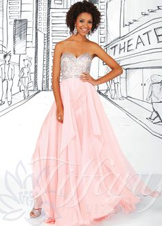 Tiffany Designs 16021 - Pink Strapless Sweetheart Chiffon Prom Dresses Online
