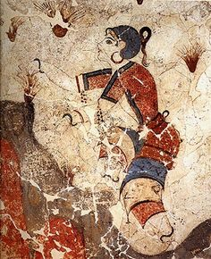 Fresco Of Women Gathering Saffron -- From the Bronze-age excavation of the Minoan town of Akrotiri on the Island of Santorini, Greece -- National Archaeological Museum -- Athens, Greece