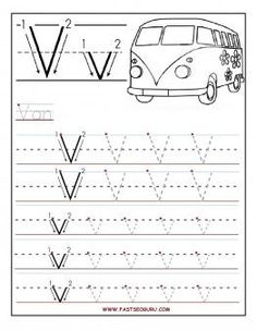 Free Printable letter V tracing worksheets for preschool.free connect the dots alphabet writing practice worksheets for graders Alphabet Tracing Worksheets, Letter Worksheets For Preschool, Preschool Letters, Kindergarten Worksheets, Kids Worksheets, Printable Worksheets, Coloring Worksheets, Free Preschool, Printable Coloring