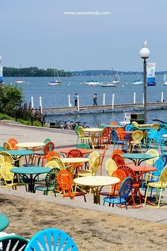 The Union Terrace at the UW - Madison, Wisconsin .,,love the colors. Oh The Places You'll Go, Places To Travel, Places To Visit, Madison Wisconsin, University Of Wisconsin, Wisconsin Badgers, Great Lakes, The Good Place, Perfect Place