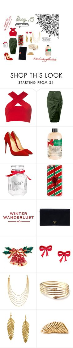 """""""Five Gold{en} Rings - Christmas Set Collection"""" by shreyamshah24 ❤ liked on Polyvore featuring Motel, LE3NO, philosophy, Victoria's Secret, Casetify, American Eagle Outfitters, Prada, White House Black Market, Kenneth Jay Lane and Shaun Leane"""