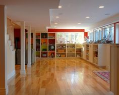 Basement Photos Low Ceiling Basement Design, Pictures, Remodel, Decor and Ideas - page 5 Playroom Storage, Playroom Design, Basement Storage, Toy Storage, Storage Design, Wall Storage, Ikea Cubbies, Modern Playroom, Storage Cubes