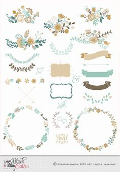 Flower frames and Lace Digital Clipart Ribbons and Frames for Wedding invitation Scrapbooking - turquoise cream - Instant Download - Eps PNG...