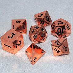 16mm Copper Metal RPG Dice Set