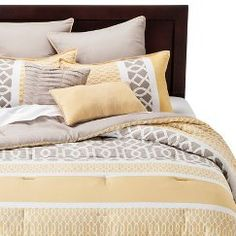 Paige 8 Piece Comforter Set - Yellow/Taupe (King)