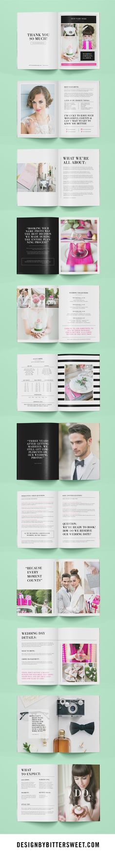 Photography magazine template for wedding photographers, wedding planners, & Photoshop users. Get this 24-page photographer welcome packet with beautiful images by @annelimphoto . This customizable Photoshop template gives your brides & grooms wedding day tips as well helpful information for their engagement & bridal sessions. ...