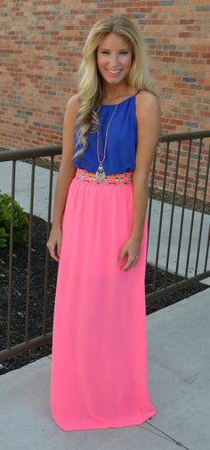 Flirt With Me Maxi Dress: Neon Pink #shophopes | Hope's ...