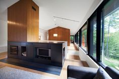 Modern cabin: Panorama House A wide shaft of vertical wood panels encloses the chimney. An entertainment unit and fireplace is wrapped in black sheet steel.