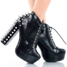 Black Snake Spike Stud Lace Up Platform Chunky High Heel Ankle Boots 8.5