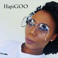 76845991254 HapiGOO New Rimless Round Big Sunglasses Women Brand Designer Fashion