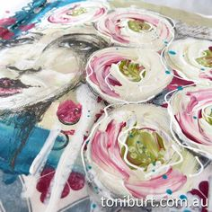 Original pinner sez: Working in my art journal....work in progress, mixed media girl and gorgeous blossoms!