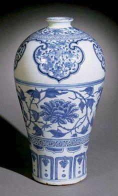 Chinese Art: Peony and Bird Vase Blue and White Yuan Dynasty Chinesische Kunst: Pfingstrosen- Fine Porcelain, Porcelain Ceramics, White Ceramics, Porcelain Jewelry, China Art, Blue China, Blue And White Vase, Chinese Ceramics, Chinese Antiques