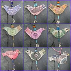clay bird necklaces...by Heidi Soos aka Highland Fairy