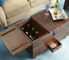 reserved for dee vintage brass chest steamer trunk / coffee table