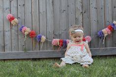 pom pom garland baby photo prop, party decoration,nursery decor, home decor