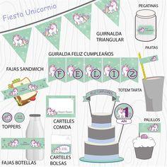Imprimible Unicornio verde mind Happy, Garlands, Unicorn, Printables, Green, Party