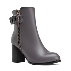 MayMeenth Womens High-Heels Low-Top Round Closed Toe Blend Materials Solid Zipper Boots -- Details can be found  : Work boots