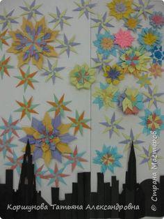 Картина панно рисунок Флешмоб День Победы Аппликация Бумагопластика Оригами Салют победы Бумага фото 1