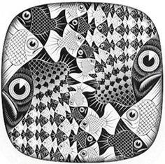 M C Escher - Quadro - Peixes e Escamas 2
